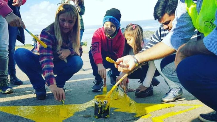 Se pintó una nueva estrella amarilla en el marco de la campaña de concienciación vial