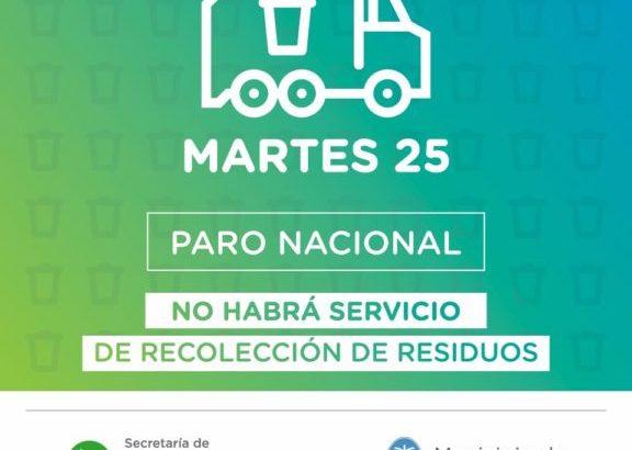 Por el paro nacional no habrá este martes servicio de recolección de residuos