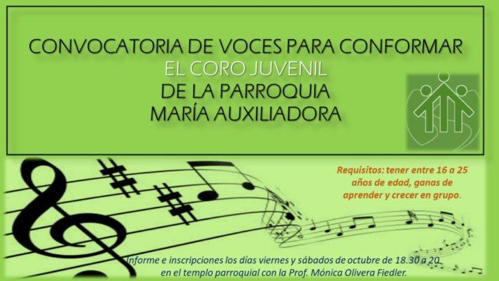 Convocan para formar el coro juvenil parroquial María Auxiliadora