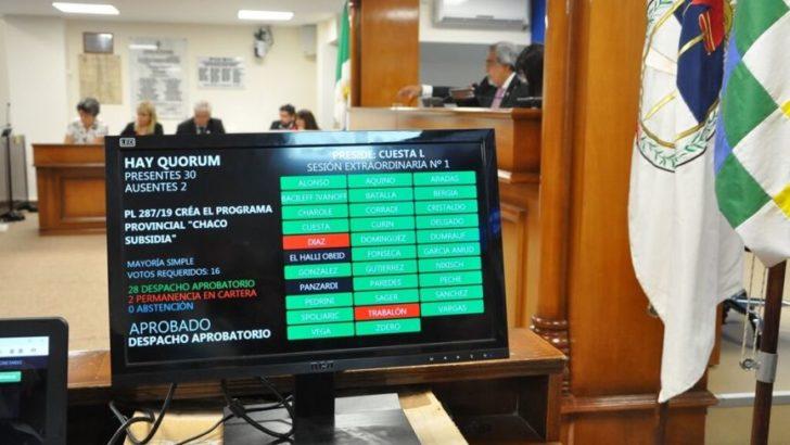 "Diputados aprobó el Programa ""Chaco Subsidia"""