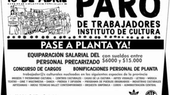 Salarios y precarización laboral: paro en el Instituto de Cultura