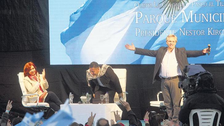 Alberto y Cristina, en un sentido homenaje a Néstor Kirchner
