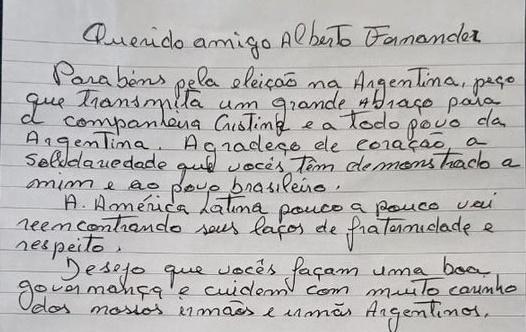 Lula le escribió una carta a Alberto Fernández para felicitarlo