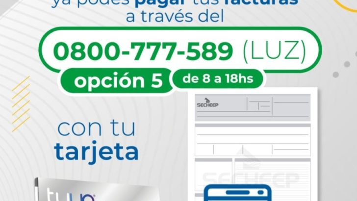 Ya se puede pagar la factura de Secheep con la tarjeta Tuya por vía telefónica