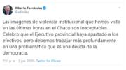 Alberto se hizo eco y repudió la violencia institucional en Fontana: «Es una deuda de la democracia»