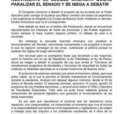 """Senadores: el Frente de Todos denunció que """"el bloque macrista nuevamente se niega a debatir"""" 1"""