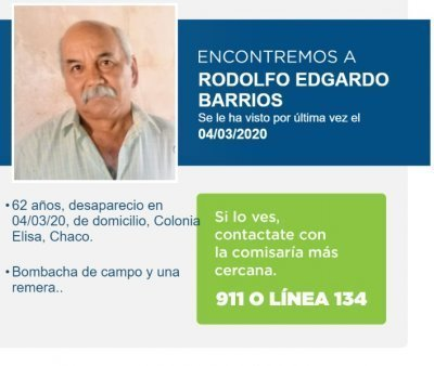 Colonia Elisa: se investiga si los restos óseos hallados podrían ser de Edgardo Barrios