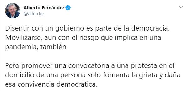 Repudian la convocatoria de la oposición y Clarín a marchar en el domicilio de CFK
