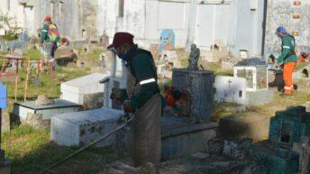 Cementerio San Francisco Solano: desarrollaron un operativo integral de limpieza, desmalezado y construcción de nichos