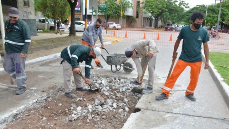 Bacheo: el Municipio capitalino realiza obras en la zona céntrica para garantizar una circulación vial más segura