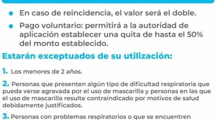 Covid 19 en Chaco: quienes no usen barbijo en la vía pública podrán ser multados