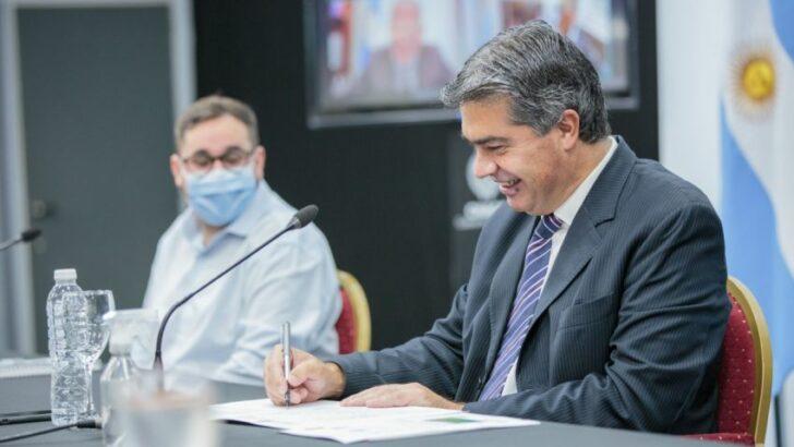 Firmaron un convenio para la pavimentación las avenidas Marconi y Nahuel Huapi