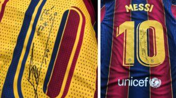 Messi le regaló tres camisetas a los directivos de la farmacéutica que donó 50 mil vacunas a la Conmebol