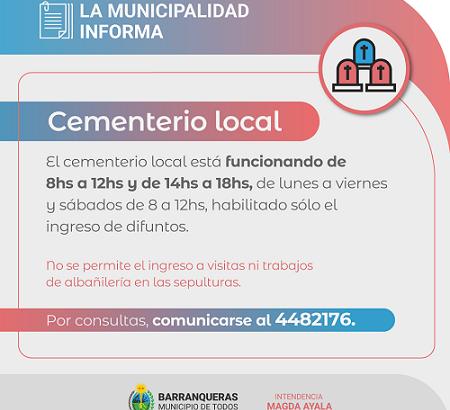 Barranqueras: el cementerio informa que trabaja con restrecciones