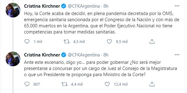 """La Corte avaló la desobediencia sobre la presencialidad y CFK advirtió sobre """"los golpes contra las instituciones"""""""