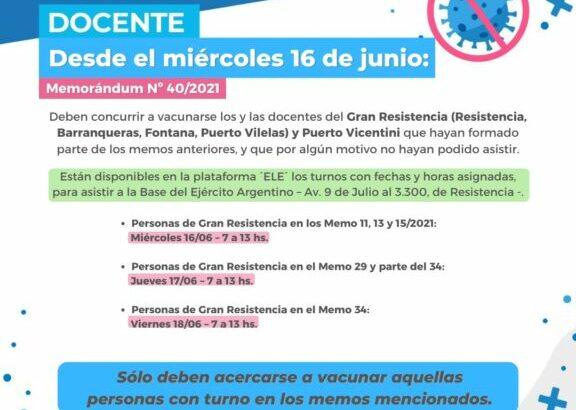 Este miércoles continúa la vacunación a docentes y no docentes del Gran Resistencia