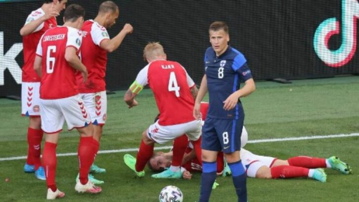 Eurocopa: Christian Eriksen se desplomó súbitamente durante el partido de su selección ante Finlandia