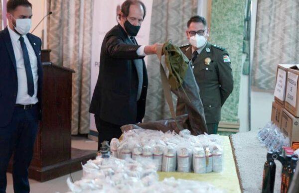 Bolivia exhibió las municiones encontradas