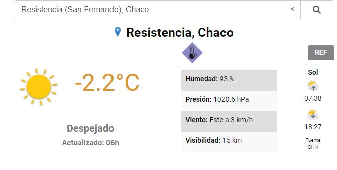 Frío amanecer en Resistencia para llegar a una máxima de 17 grados por la tarde de este viernes