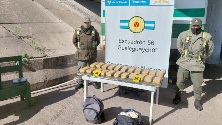 Entre Ríos: Gendarmería secuestró más de 16 kilos de marihuana de un colectivo de larga distancia
