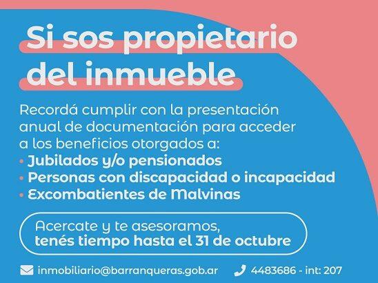 Información importante para propietarios de inmuebles en Barranqueras