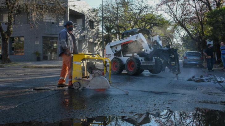 Resistencia: el Municipio realiza trabajos de bacheo en las calles Pueyrredón y Corrientes